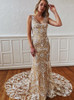 Fitted Lace Wedding Dress V-neck,Boho Bridal Dress,12208