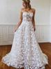 A-line Lace Wedding Dress,Boho Strapless Bridal Dress,12210