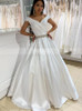 A-line Off the Shoulder bridal Dress,Satin Bridal Dress with Beaded Belt,12212