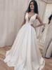 Simple Satin Wedding Dress,A-line Bridal Dress with V-neck
