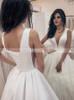Simple Satin Wedding Dress,A-line Bridal Dress with V-neck,12214