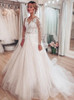 Elegant A-line Wedding Gown with Sleeves,12217