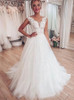 A-line Bridal Dress with Tulle Skirt,Garden Wedding Dress,12218
