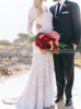 Fit and Flare Lace Wedding Dress with Long Sleeves,12227