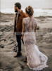 Bohemian Lace Wedding Dress,Beach Wedding Dress with Nude Lining,12229
