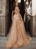 Champagne A-line Wedding Dress with Cutout Back,Outdoor Bridal Gown,12232