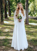 Bohemian Sheer Lace Long Sleeve Wedding Dress Two Piece Tulle Skirt,12235