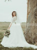 Classic Lace Wedding Dress with Sleeves,Open Back Vintage Bridal Gown,12239