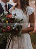Vintage Lace Bridal Dress with Cap Sleeves,Garden Wedding Dress Ruffles,12241