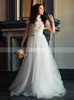 Two Piece Short Sleeves Boho Bridal Dress with Tulle Skirt,12246