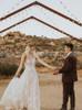 Boho Lace Wedding Dress with Spaghetti Straps,12247