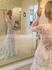 Fit and Flare Vintage Lace Bridal Dress with Detachable Overskirt,12264