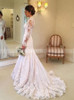 Fit and Flare Lace Bridal Dress,Vintage High Neck Wedding Dress with Sleeves,12266
