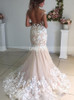 Mermaid See Through Cap Sleeves Wedding Dress Open Back,12268