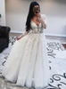 A-line See through V-neck Bridal Dress with Long Sleeves,12269