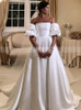Vintage A-line Strapless Wedding Dress with Removable Sleeves,12275