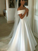 Simple A-line Off the Shoulder Satin Bridal Dress,12279