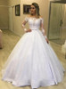 Off the Shoulder Wedding Dress with Detachable Overskirt,12284