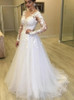 Long Sleeves A-line Plus Size Wedding Dress,12285