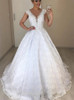 Princess Lace Bridal Dress with Cap Sleeves,12290