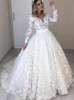 Stunning Lace Ball Gown Wedding Dress with Long Sleeves,12293