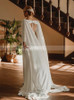 Wedding Dress with Cape,Bateau Neck Bridal Dress with Slit,12298