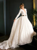 A-line Lace Long Sleeve Bridal Dress,Modest Wedding Dress,12300