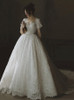 Lace Ball Gown Bridal Dress with Short Sleeves,Vintage Bridal Gown,12301