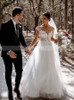 Elegant A-line Tulle Bridal Dress Cap Sleeves,12305