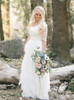 Modest A-line Wedding Dress with Short Sleeves,Lace Bridal Dress V-neck,12311