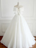 Ivory Wedding Dress with Bow,Full Length Bridal Dress,Simple Wedding Dress,11128