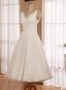 Tea Length Short Wedding Dress,Wedding Reception Dress,Simple Casual Bridal Dress,11140