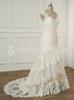 Plus Size Champagne Wedding Dress,Lace Trumpet Bridal Dress,Elegant Wedding Dress,11150