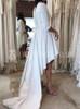 High Low Wedding Dresses with Sleeves,Satin Simple Bridal Dress,Modern Bridal Dress,11162