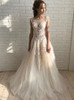 Champagne Wedding Dresses,Tulle Bridal Dress with Lace Appliques,Fashion Wedding Dress,11168