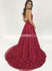 Burgundy Evening Dresses,Lace Halter Prom Dress,11213