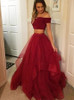 Burgundy Two Piece Prom Dresses,Ruffled Tulle Prom Dress,Prom Dress for Teens,11224