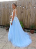 SkyBlue Prom Dresses,Tulle Prom Dress,Elegant Prom Dresses,11257