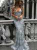 Fitted Mermaid Prom Dress,Silver Evening Dress,Lace Evening Dress,11258