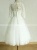 Tea Length Wedding Dress with Short Sleeves,Tulle Short Bridal Dress,11274
