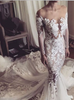 Lace Sexy Wedding Dress with Long Sleeves,Mermaid Wedding Dress with Train,11290