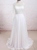 Beach Wedding Dresses with Long Sleeves,Chiffon Wedding Dress,Modest Bridal Dress,11295