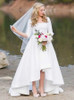 White High Low Wedding Dresses with Sleeves,Vintage Wedding Dress,11307