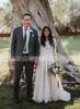 Boho Wedding Dresses with Long Sleeves,Tulle Wedding Dress,11311