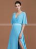 Light Blue Bridesmaid Dresses with Slit,Open Back Bridesmaid Dress,11359