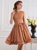 Short Layered Bridesmaid Dresses,Knee Length Bridesmaid Dress with Cap Sleeves,11367