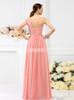 Coral One Shoulder Bridesmaid Dresses,Floor Length Bridesmaid Dress,11393