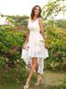 Ivory Lace Bridesmaid Dresses,High Low Bridesmaid Dress,11395