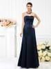Dark Navy Long Bridesmaid Dresses,Satin Bridesmaid Dress,11406