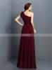 Burgundy One Shoulder Bridesmaid Dresses,Elegant Bridesmaid Dress,11407